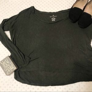 American Eagle Forest Green Ribber Long Sleeve